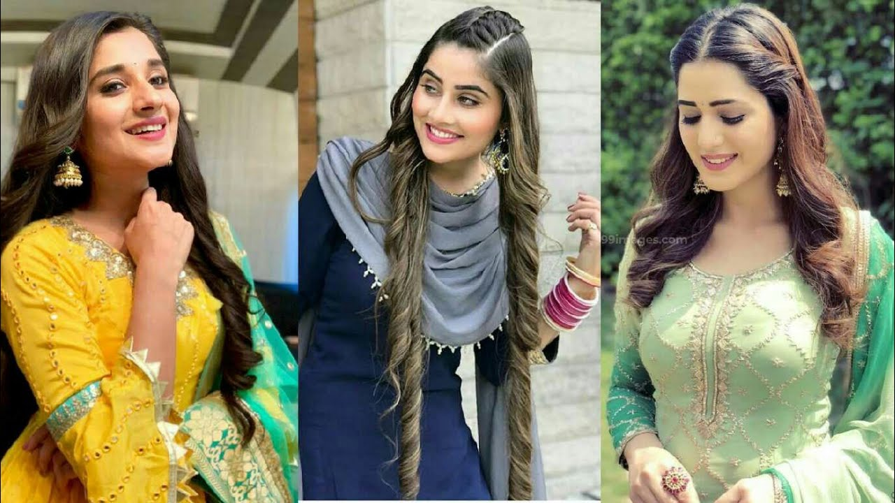 Open hairstyle with Punjabi Suit  Open hairstyle for wedding