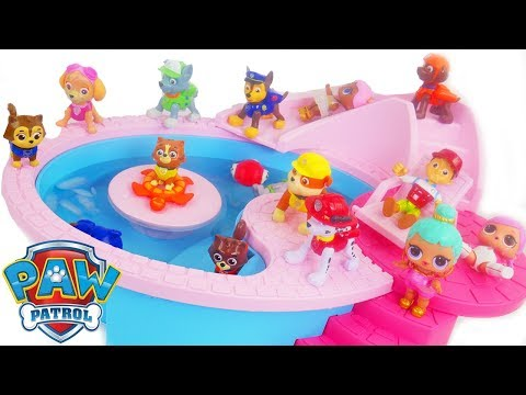Learn Colors with Paw Patrol Pups Pool Party Magical bath Bomb Camper RV Swimming Bathroom Toys!