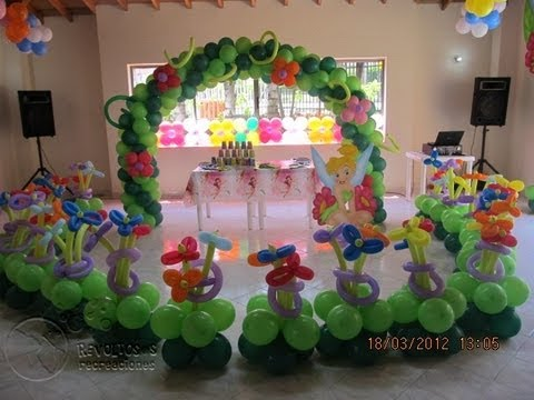 Decoracion fiesta tematica campanita tinker bell youtube for Decoracion salon infantil