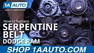 How to Replace Serpentine Belt 02-08 Dodge Ram - YouTubeYouTube