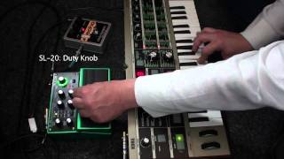 Boss SL-20 Slicer Twin Pedal demo review with Korg Microkorg synth and EHX #1 Echo Delay Pedal