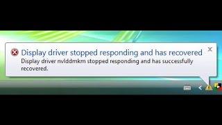 O Driver de video Nvidia parou de responder e se recuperou Kernel Mode Driver