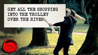 Get All the Shopping Into the Shopping Trolley Over the River | Full Task | Taskmaster