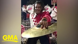 Marching band member's cymbal performance is giving us life l GMA Digital
