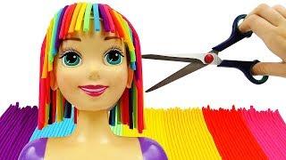 Play Doh Прическа для Принцессы Диснея Рапунцель. Салон красоты. Поделки из пластилина для детей