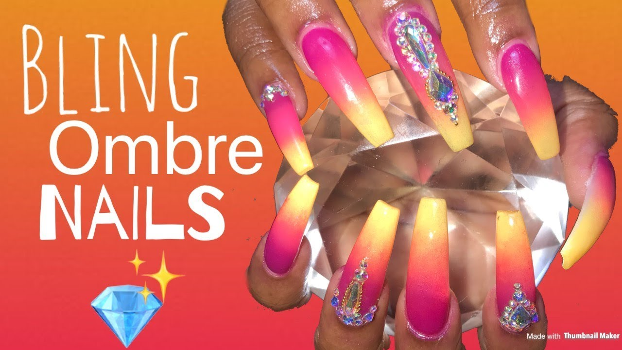 Acrylic Nails Fill in Tutorial | Bling Ombre Nails - The Beauty ...