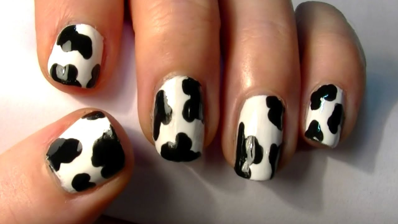 ♥ Easy Animal Print Nail Art! Simple Cow Print Design For Short ...