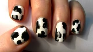 ♥ Easy Animal Print Nail Art! Simple Cow Print Design For Short Nails ♥