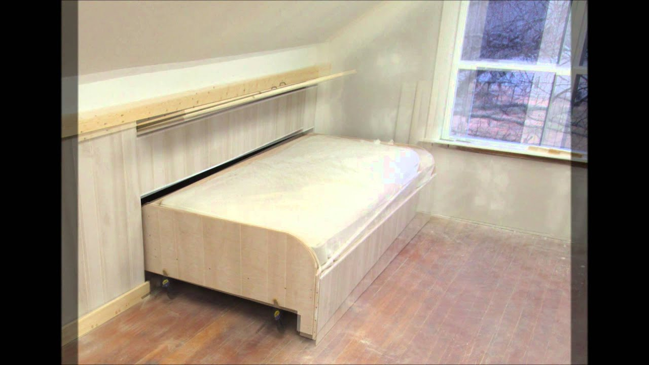attic door insulation ideas - Paneling the end of the hidden pull out knee wall bed