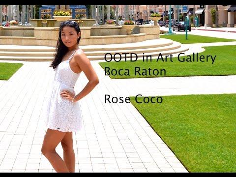 OOTD Tan skin&white dress---Art Gallery Boca Raton♡Rose Coco