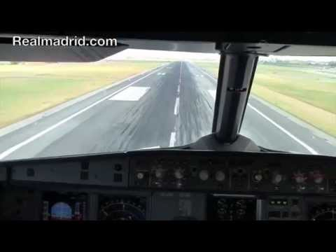 BEHIND THE SCENES: The view from the pilot's cabin as Real Madrid land in Lisbon