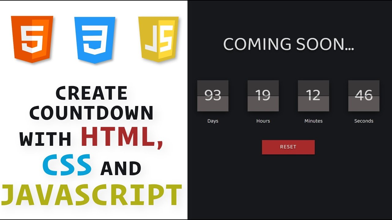 Countdown with HTML, CSS, and JavaScript / How to create JavaScript Countdown