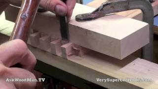17 Four Drawer Bedside Table • Chopping Dovetail Shoulders On Drawers