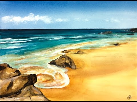 Watercolor Sandy Beach Painting Demonstration