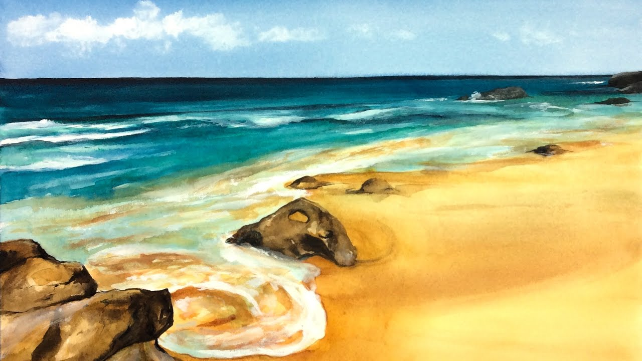 watercolor sandy beach painting demonstration youtube