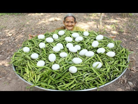 Fresho Beans with Egg Recipe in Village Style By My Grandma || Myna Street Food