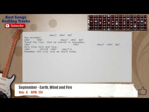 September - Earth, Wind and Fire  Guitar Backing Track with scale, chords and lyrics