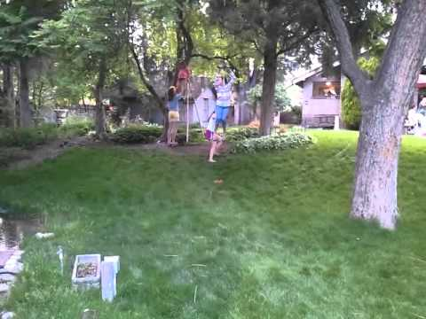 Zip Lines For Backyards slackers zipline kit with seat - youtube