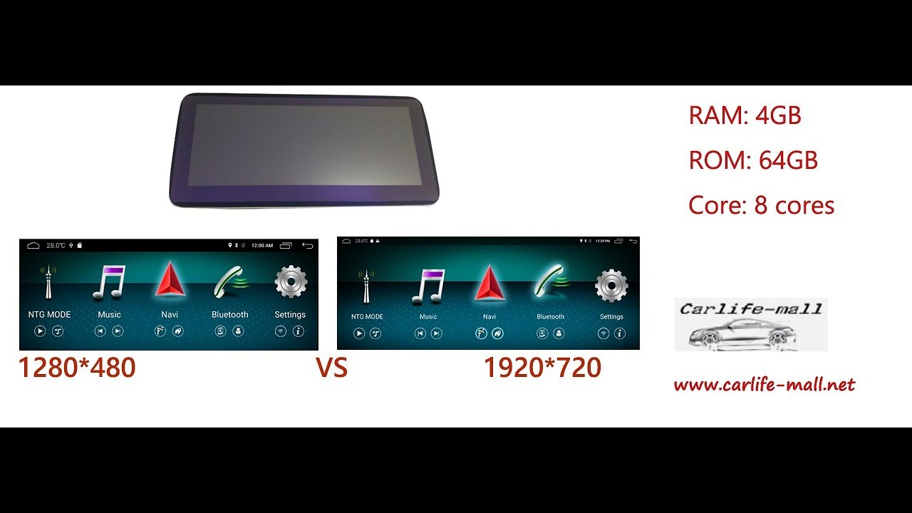 10 25 inch benz android screen 1920*720 VS 1280*480