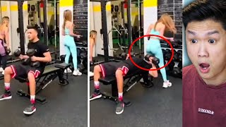 Woman viscously clobbers unsuspecting gym goers face with her privates