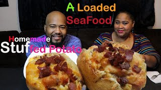 Loaded Seafood Stuffed/Baked Potato Mukbang  🏝🏝📬Subscriber Request