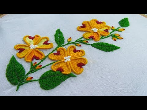 Hand Embroidery Bullion Knot Stitch Flower Embroidery