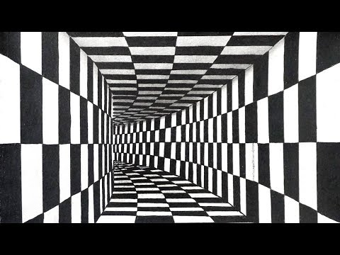 3D Black & White Illusion Drawing Trick Art | Chess Board Walls Vector Room Drawing