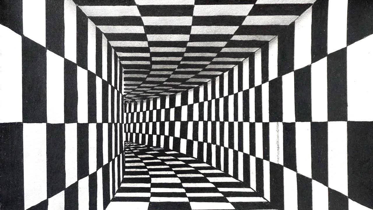 3d black white illusion drawing trick art chess board walls vector room drawing