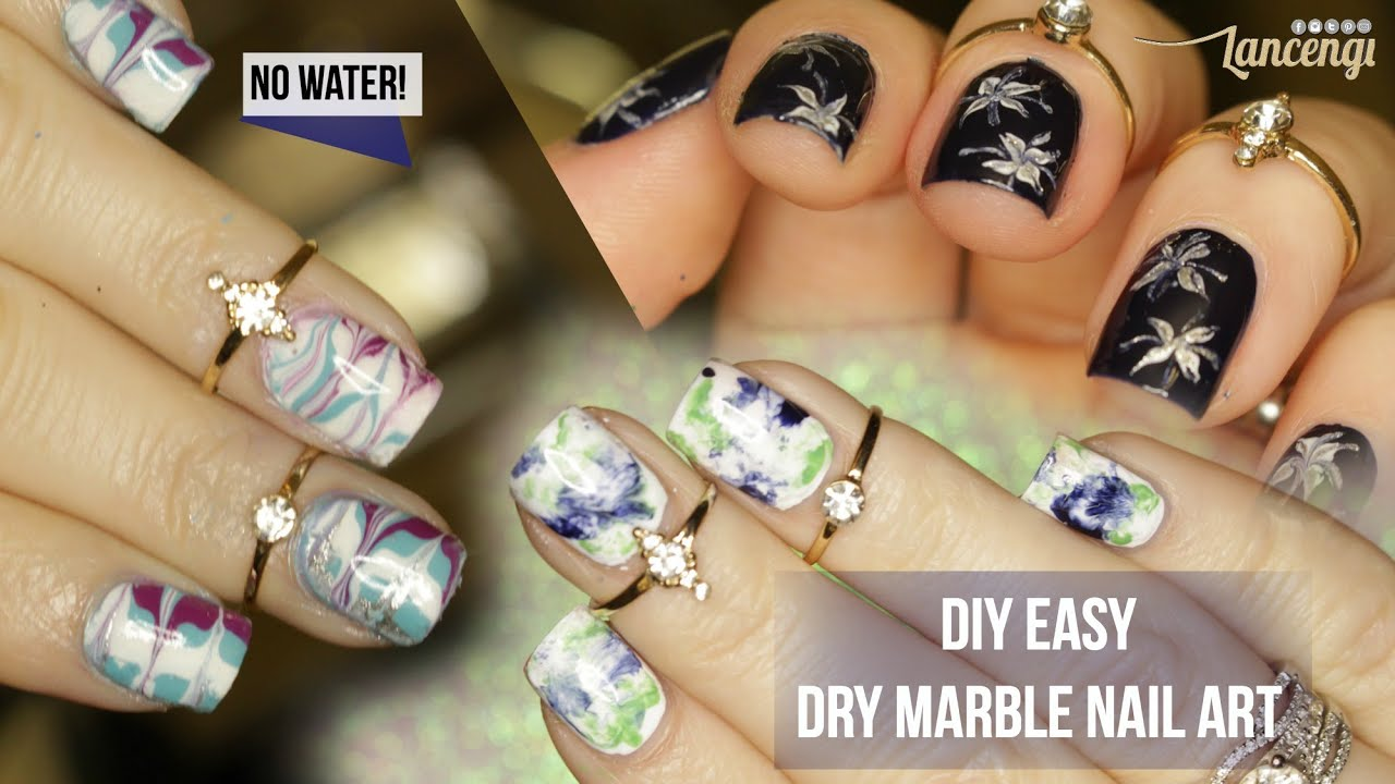 DIY Easy Dry Water Marble Nails - 3 Techniques + Review #42 - YouTube