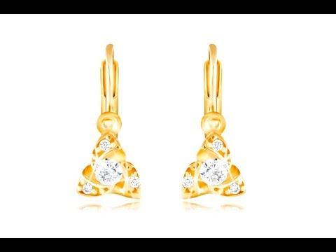 0cfbdd350 Šperky - Náušnice zo žltého 14K zlata - tri malé oblúčiky, okrúhly číry  zirkón
