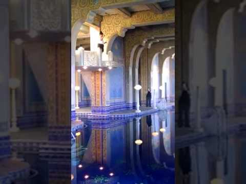 Tour Guide Jumping into the Indoor Roman Pool at Hearst Castle