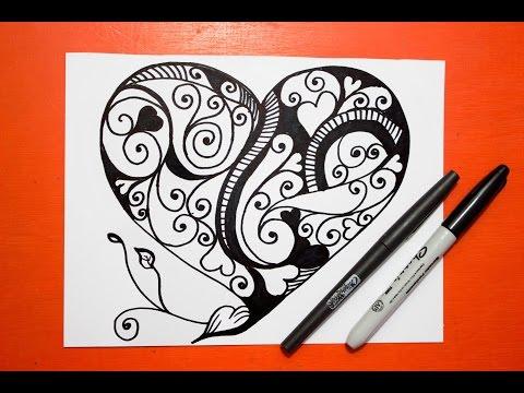 Como Dibujar Un Corazon Mandalas How To Draw A Heart Youtube
