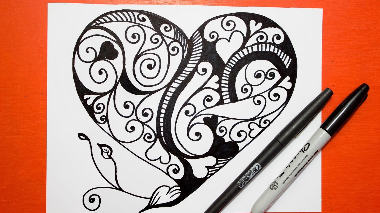 Como Dibujar un Corazon - Mandalas │ How to draw a heart - YouTube