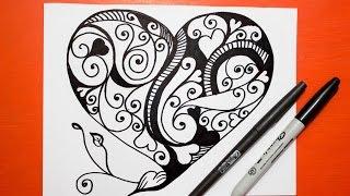 Como Dibujar un Corazon - Mandalas │ How to draw a heart