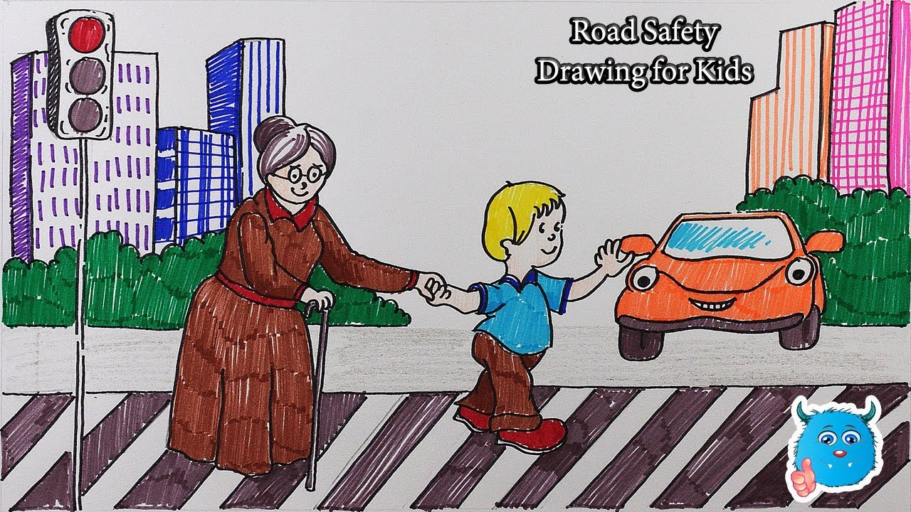 City Road Safety Drawing For Kids How To Draw Scenery Of A Kid