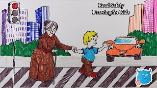 City Road Safety Drawing for Kids-How to Draw Scenery of a Kid Helping Grandmother to Cross the Road