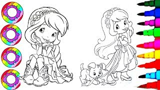 Coloring Drawing Pages Strawberry Shortcake with Red and Yellow Sparkle Hair How To Color l DB