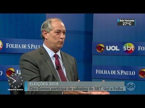 Ciro Gomes participa de sabatina promovida por SBT, Folha e UOL