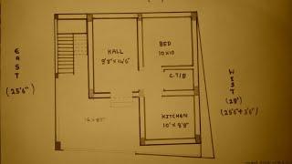 28 × 25 North face house plan map naksha