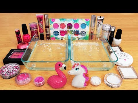 Pink vs White - Mixing Makeup Eyeshadow Into Slime! Special Series 127 Satisfying Slime Video