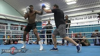 ANTHONY JOSHUA LOOKING FAST & POWERFUL ON THE MITTS DAYS AHEAD OF TITLE DEFENSE