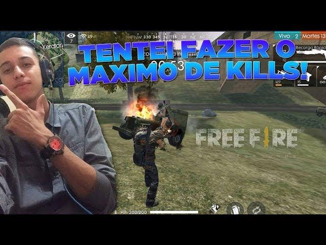 TENTEI BATER MEU RECORD DE KILLS NO FREE FIRE BATTLEGROUNDS!
