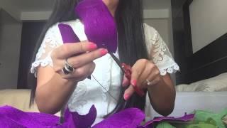 Hướng dẫn làm hoa Hồng bằng giấy Nhún - How to make Rose flower Paper