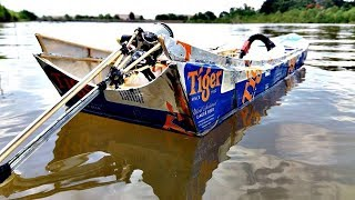Chế mô hình ghe dát vỏ lon và cách làm đuôi tôm   Thailand long'tail boat rc