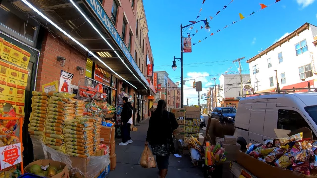 ⁴ᴷ⁶⁰ Walking Tour of Jersey City, NJ - Newark Avenue from Grove on