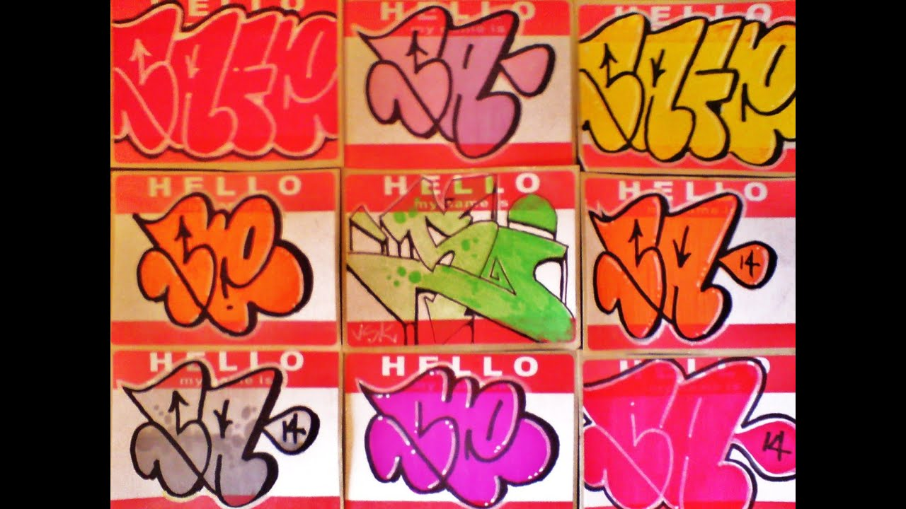 Hello my name is graffiti stickers