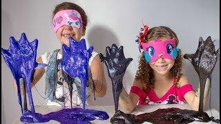 DESAFIO DO SLIME COM 3 CORES E OLHOS VENDADOS!! 3 colors of glue slime challenge!!