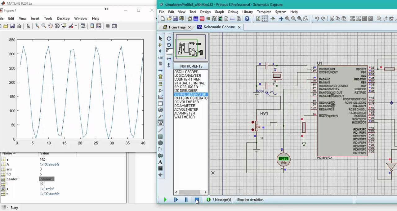 Matlab Real Time Plot by Using Virtual Serial Port and Proteus ISIS