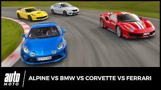 Alpine vs BMW vs Corvette vs Ferrari : quatre propulsions au top