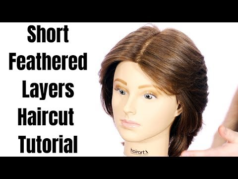 Short Feathered Layers Haircut Tutorial -